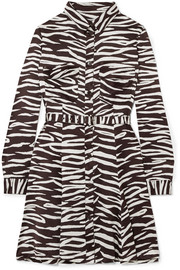 Zebra-print stretch-silk satin mini dress