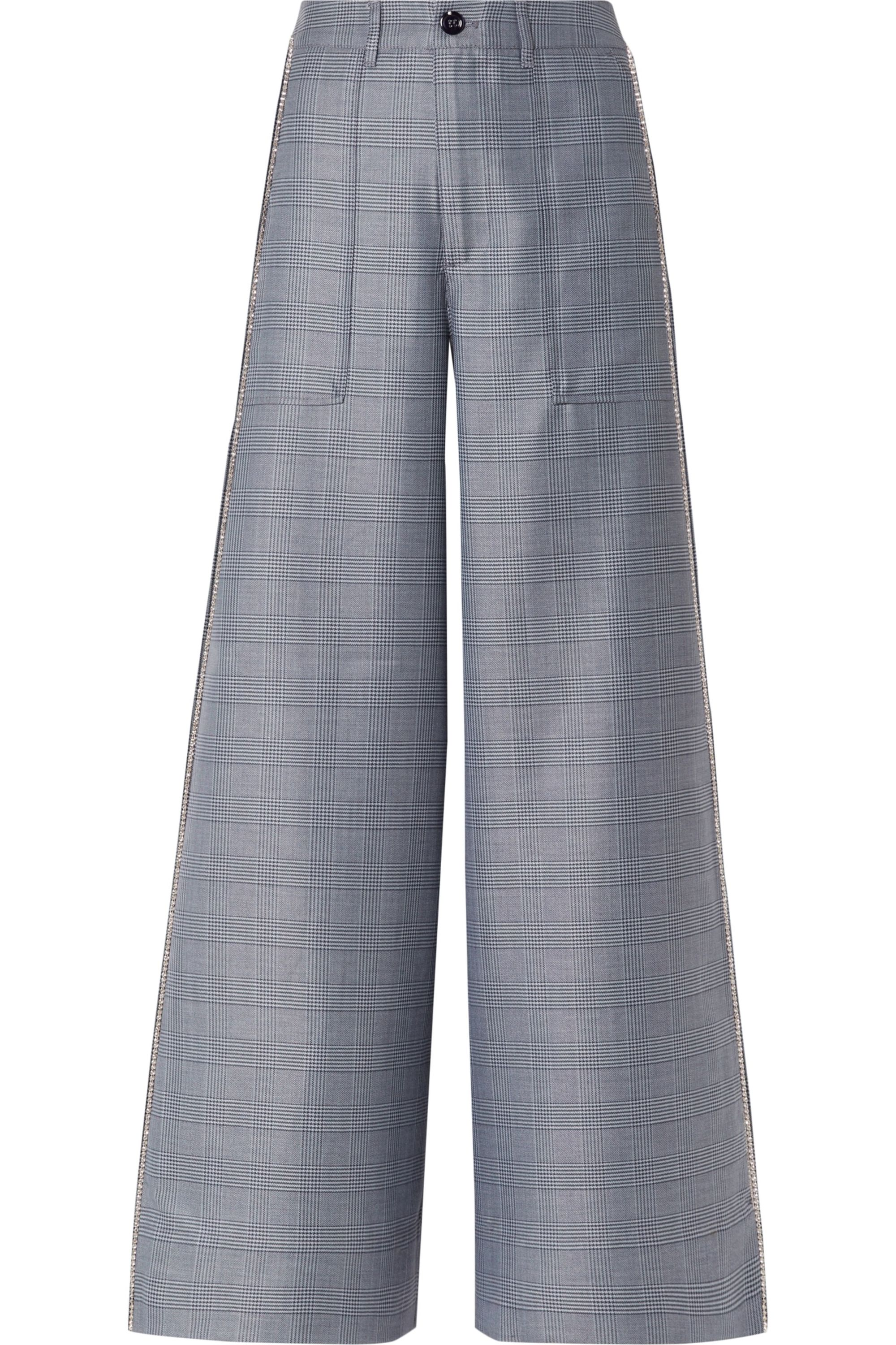 GANNI Crystal-embellished checked silk-blend wide-leg pants