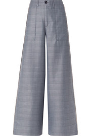 GANNI Merkel crystal-embellished checked silk-blend wide-leg pants