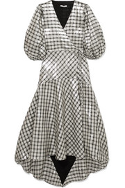 GANNI Lagarde checked silk-blend lamé wrap dress
