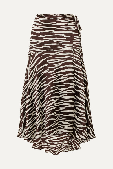 GANNI - Blakely Zebra-print Stretch-silk Satin Wrap Skirt - Zebra print