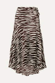 GANNI Blakely zebra-print stretch-silk satin wrap skirt