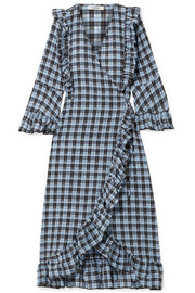 GANNI Charron ruffled checked coated cotton-blend seersucker wrap dress