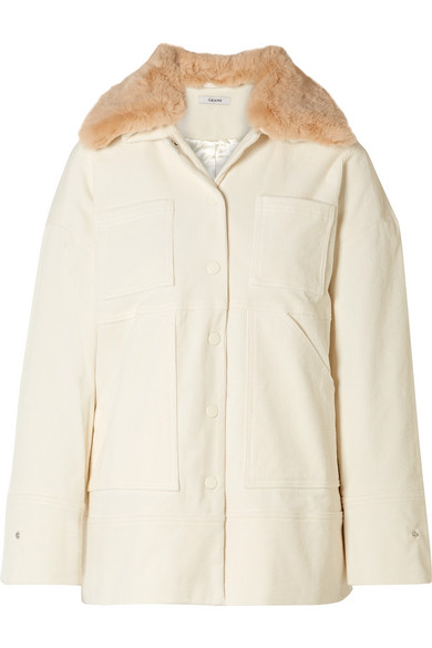 Ganni Ridgewood Faux Fur Trimmed Cotton Blend Corduroy Jacket