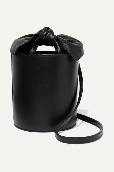 Sophie Mini Leather Bucket Bag in Black