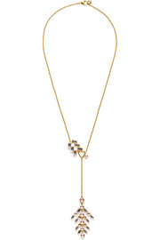 Larkspur & Hawk Caterina gold-dipped quartz necklace