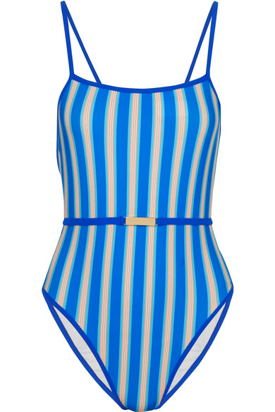 Diane von Furstenberg - Belted Striped Swimsuit - Azure