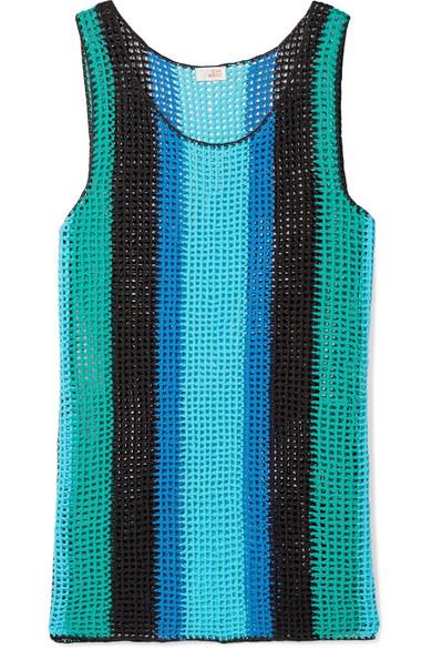 Diane von Furstenberg - Striped Crocheted Cotton Mini Dress - Azure