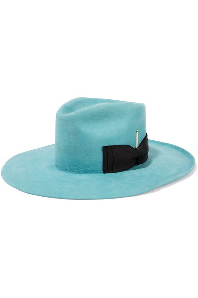 Nick Fouquet - E-1 Feather-embellished Rabbit-felt Fedora - Turquoise