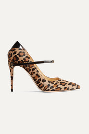 Jennifer Chamandi Lorenzo patent leather-trimmed leopard-print calf hair pumps