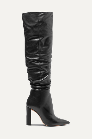 100Mm Anna Slouchy Leather Boots in Black