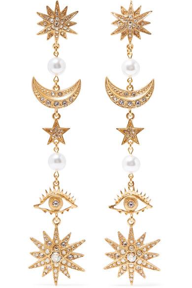 Gold Tone, Crystal And Faux Pearl Clip Earrings by Oscar De La Renta