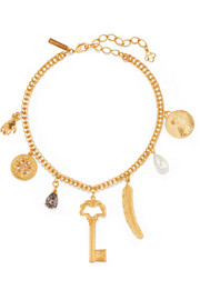 Gold-tone, crystal and faux pearl necklace