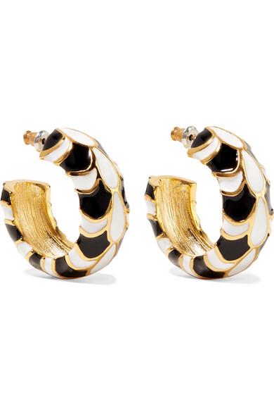 Gold Plated Enamel Earrings by Kenneth Jay Lane