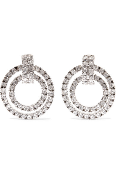 Rhodium Plated Crystal Clip Earrings by Kenneth Jay Lane