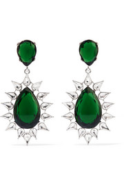 Kenneth Jay Lane Rhodium-plated crystal earrings