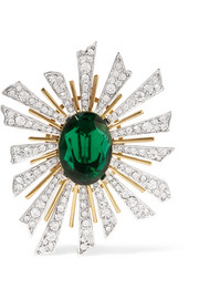 Kenneth Jay Lane Gold and rhodium-plated crystal brooch