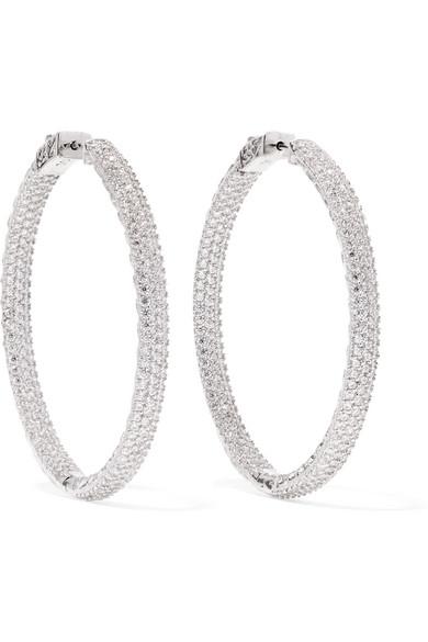 KENNETH JAY LANE Rhodium-Plated Crystal Hoop Earrings in Silver