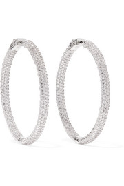 Rhodium-plated crystal hoop earrings