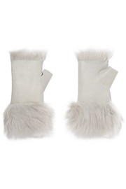 Reversible shearling fingerless gloves