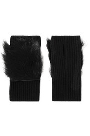 Shearling-trimmed ribbed cashmere fingerless gloves