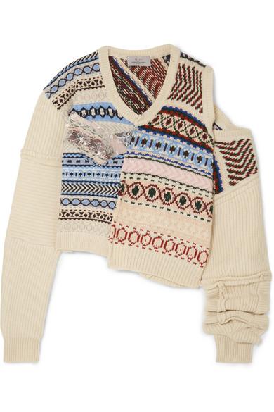PREEN BY THORNTON BREGAZZI Cutout Distressed Fair Isle Wool Sweater in Ivory