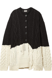 Preen by Thornton Bregazzi Myra paneled cable-knit wool-blend cardigan