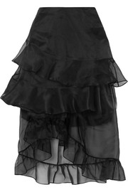 Louisa asymmetric ruffled silk-organza midi skirt