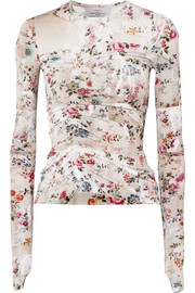 Marcia ruched floral-print stretch-crepe top
