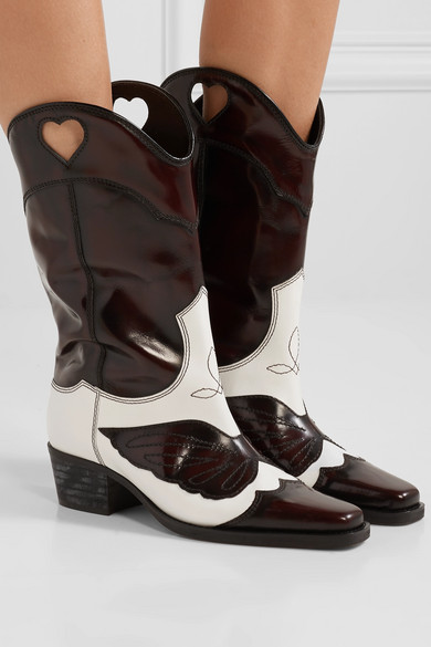Marlyn Leder zweifarbige, kniehohe Stiefel aus Leder Marlyn mit Stickereien 92c8a0