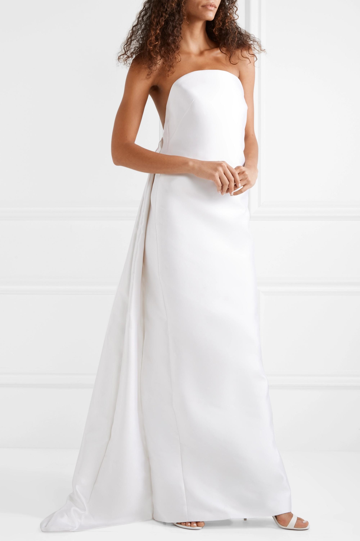 Gabriela Hearst Robe de mariée en serge satinée de soie et de laine mélangées à plis creux Joaquina