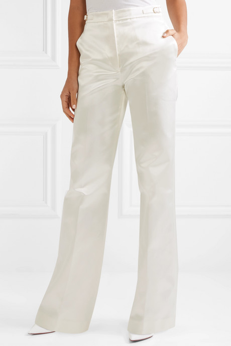 Vesta cotton and silk-blend satin wide-leg pants