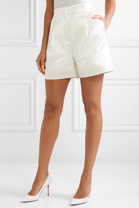 Hayworth cotton and silk-blend satin shorts