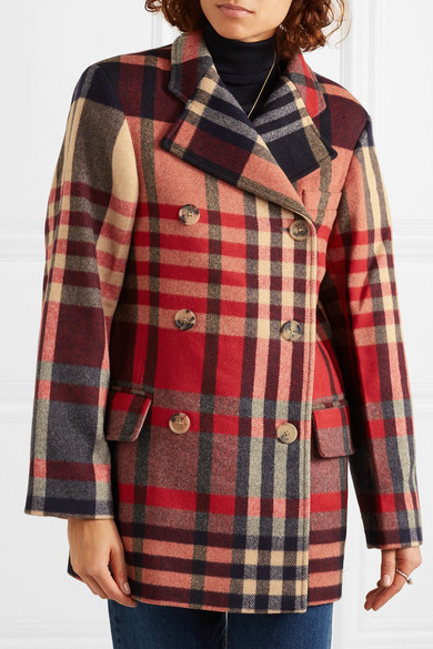 double wool checked blend Clara breasted cashmere and coat kXiZPuO