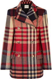 Clara double-breasted checked wool and cashmere-blend coat