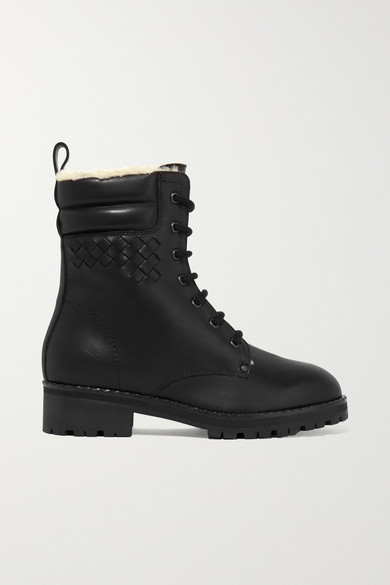 Shearling-Lined Intrecciato Leather Ankle Boots