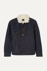 Sherpa Cate faux shearling-trimmed denim jacket