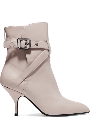 Leather Ankle Boots, Cream