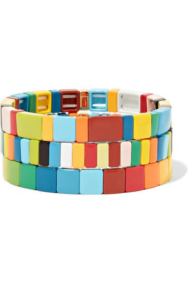 ROXANNE ASSOULIN Rainbow Brite Set Of Three Enamel Bracelets in Blue
