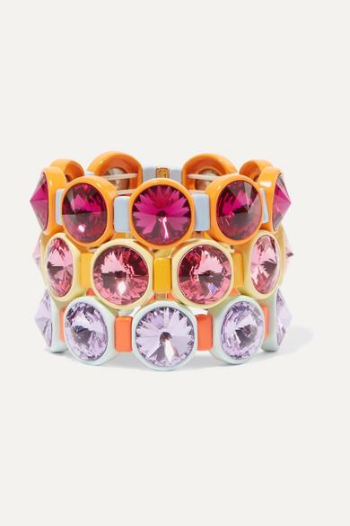 ROXANNE ASSOULIN Technicolor Set Of Three Enamel And Swarovski Crystal Bracelets in Pink