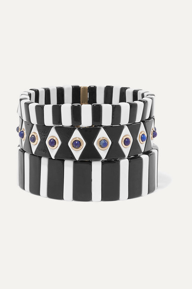 ROXANNE ASSOULIN Bistro Set Of Three Enamel And Lapis Bracelets in Black