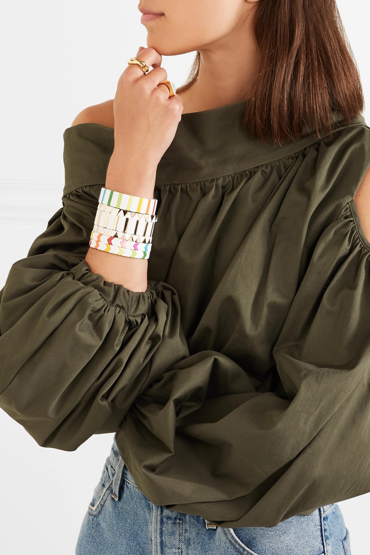 Roxanne Assoulin Gilded Zig-Zag set of three gold-plated and enamel bracelets
