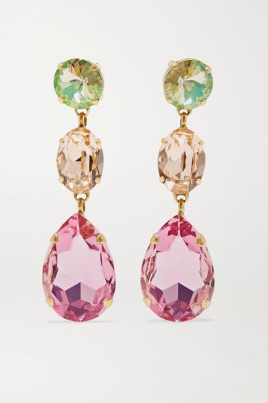 ROXANNE ASSOULIN Hip Hop But Not Gold-Tone Swarovski Crystal Clip Earrings in Pink