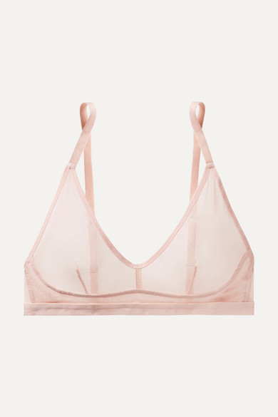 Ophelia Cotton-Tulle Soft-Cup Triangle Bra in Pastel Pink