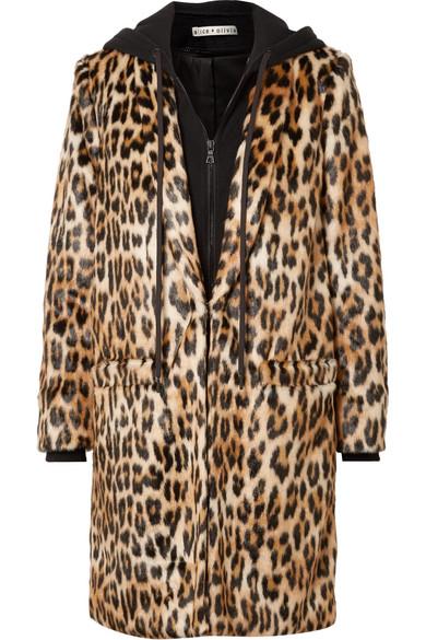Kylie Leopard-Print Faux Fur And Cotton-Jersey Coat, Leopard Print