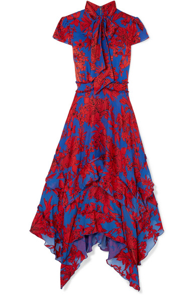 Blue and Red Ruffled Midi Dress