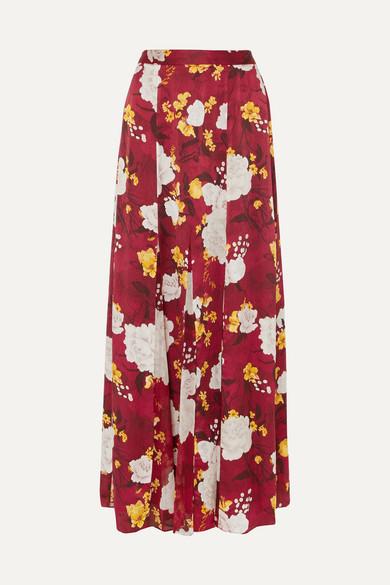 Alice Olivia - Athena Floral-print Hammered Silk-satin Maxi Skirt - Burgundy