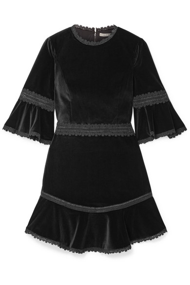 Alice Olivia Doloris Fluted Lace Trimmed Velvet Mini Dress Net