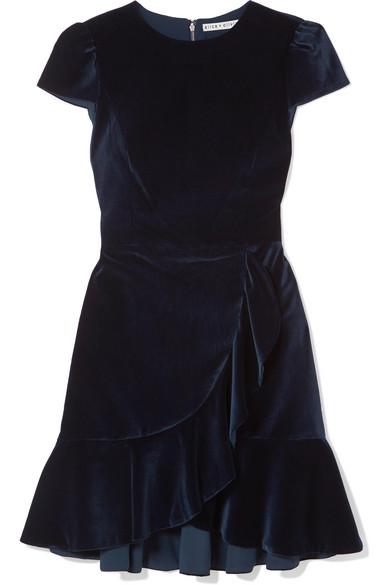 Alice Olivia Enid Ruffled Velvet Mini Dress Net A Porter