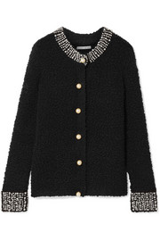 Alice + Olivia Devona crystal and faux-pearl embellished wool-blend bouclé cardigan